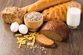 Fresh Bread, Eggs And Glass Of Milk And Grains. Stock Photography - 36392212