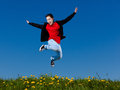 Girl Jumping Outdoor Stock Images - 36405314