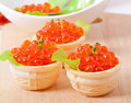 Tartlets With Red Caviar Stock Photo - 36415540