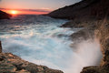 Waves Breaking On A Rocky Seashore At Sunset Royalty Free Stock Photos - 36420248