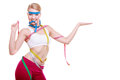 Health Care Healthy Lifestyle. Sport Fit Fitness Woman With A Lot Of Colorful Measure Tapes. Girl Showing Blank Copyspace On Hand Royalty Free Stock Photography - 36422577