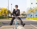 Businessman Riding Bicycle To Office For Eco-friendly Stock Photography - 36424382