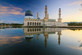 Reflection Of A Mosque At Sunrise In Sabah, Borneo Royalty Free Stock Image - 36429286