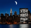Moon Over Manhattan Stock Photo - 36477350