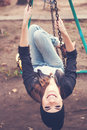 Gentle Portrait Of A Beautiful Girl On A Swing Stock Images - 36477924