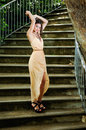 Beautiful Young Woman In A Garden Stairs. Royalty Free Stock Images - 36479719