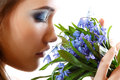 Beautiful Teen Girl Smell And Enjoy Fragrance Of Snowdrop Flower Royalty Free Stock Photography - 36491817
