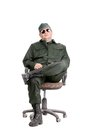 Worker In Glasses Sitting On Chair. Royalty Free Stock Photo - 36499915