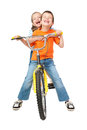 Boy And Girl On Bicycle Royalty Free Stock Photos - 36501838