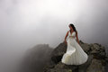 Dream Of Bride On Mountain Top In Mist Royalty Free Stock Photo - 36504855
