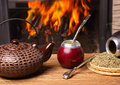 Mate In The Calabash, Kettle, Yerba Stock Photos - 36505493