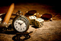 Antique Pocket Watch And Old Gambler Craps Dice Royalty Free Stock Photos - 36510158