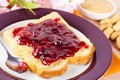 Sandwich With Peanut Butter And Jam Royalty Free Stock Image - 36510416