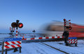 Winter Railroad Crossing Stock Photos - 36520163