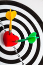 Black White Target With Two Darts In Heart Love Symbol As Bullseye Stock Photos - 36542683