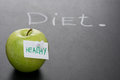 Green Apple With Label On A Dark Background And The Word Diet Royalty Free Stock Images - 36542999