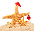 Starfishes, Christmas Bauble On The Sand Royalty Free Stock Photos - 36549948
