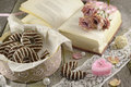 Poem Book With Heart-shaped Candle Stock Image - 36570791