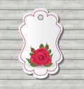 Elegant Card With Red Rose For Valentine Day Stock Photo - 36593640