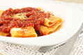 Pasta With Tomato Meat Sauce Royalty Free Stock Photo - 36614245