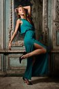 Portrait Of The Beautiful Woman Green Gown. Royalty Free Stock Photo - 36623325