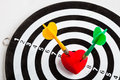 Black White Target With Two Darts In Heart Love Symbol As Bullseye Stock Photo - 36624530