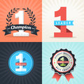 Flat Design Number One Winner Ribbons And Badges Stock Image - 36627031