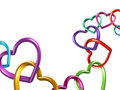 3d Colorful Hearts Linked Together Into Chain Stock Photo - 36636960