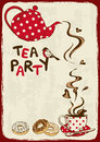Tea Party Invitation With Teapot And Teacup Stock Photo - 36645830