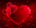 Red Hearts With Shining And Stars Stock Photography - 36646762