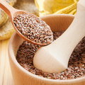 Mortar With Flax Seeds Stock Image - 36662691