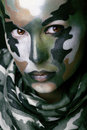 Beautiful Young Fashion Woman With Military Style Clothing And Face Paint Make-up Stock Image - 36665591