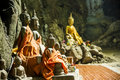 Buddha Statue Wear Yellow Robe Are In The Cave Stock Photography - 36673312