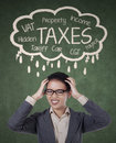 Stressed Businesswoman For Paying Her Taxes Royalty Free Stock Images - 36673589