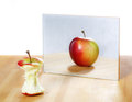 Apple In The Mirror Image Stock Photography - 36692732