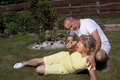 Man Gives Woman With Heat Exhaustion Something To Drink Royalty Free Stock Photo - 36708285