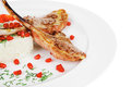 Meat Food: Ribs On White Plate With Rice Stock Photo - 36710810