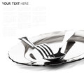 Close Up Of A Silver Spoon And Fork On A White Background Royalty Free Stock Images - 36712969