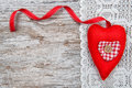 Valentine Card With Textile Heart On Lacy Cloth And Old Wood Royalty Free Stock Images - 36715819