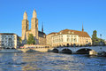 Zurich. Grossmunster Church And The Limmat River Embankment Royalty Free Stock Photography - 36735457