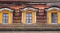 Attic Windows Of Old Wooden House Stock Image - 36745251