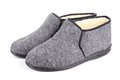 Pair Of Men S Grey Slippers On White Background. Stock Photo - 36745990