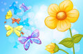 A Big Flower With Butterflies Royalty Free Stock Images - 36749019