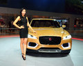Fashion Model On Jaguar C-X17 Concept SUV Royalty Free Stock Photos - 36754678