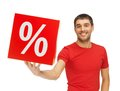 Man With Percent Sign Royalty Free Stock Photos - 36769528