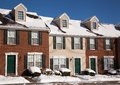 American Traditional Winter Townhomes Brick And Wo Stock Photos - 36774693