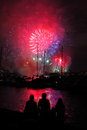 Silhouettes Of People At Harbor By Fireworks Stock Photography - 36779482