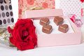 Heart Shaped Chocolate Love In Pink Gift Box And Roses Valentines Day Stock Images - 36781194
