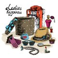 Women S Accessories From Open Gift Box Royalty Free Stock Images - 36786229