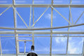 Glass Roof With Blue Sky Background Stock Photos - 36789643